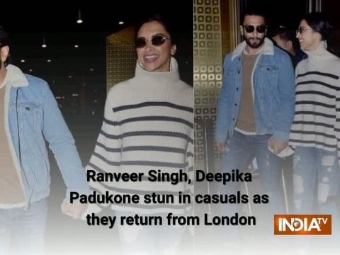 Ranveer Singh, Deepika Padukone stun in casuals as they return from London