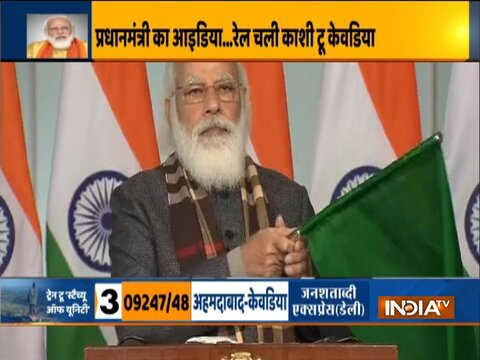 "PM Modi flags off 8 trains connecting Kevadiya ""Statue of Unity"""