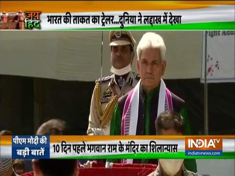 Jammu and Kashmir: L-G Manoj Sinha hoists the National Flag in Srinagar on Independence Day