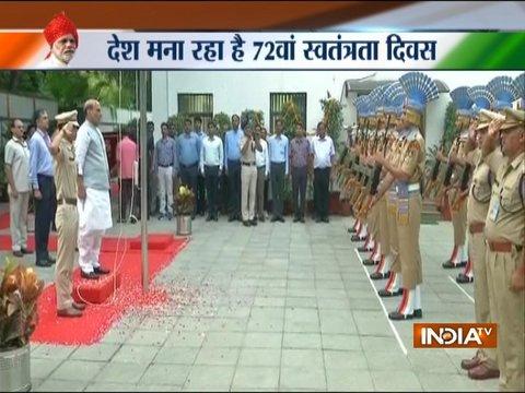 72वें स्वतंत्रता दिवस पर राजनाथ सिंह ने राष्ट्रीय ध्वज फहराया