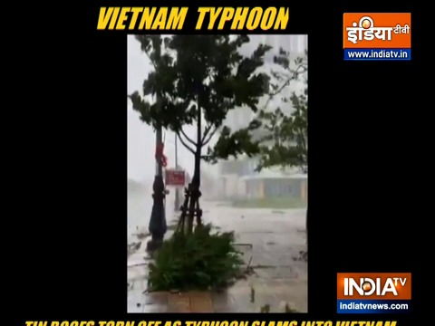 Tin roofs torn off as typhoon slams into Vietnam