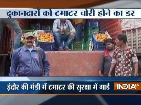 Security guard deployed in Indore market as tomatoes continue to get expensive