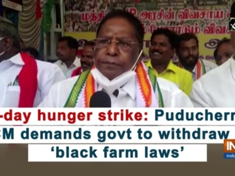 1-day hunger strike: Puducherry CM demands govt to withdraw 3 'black farm laws'