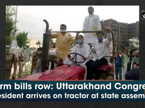 Farm bills row: Uttarakhand Congress President arrives on tractor at state assembly