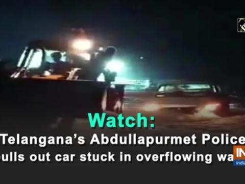Watch: Telangana's Abdullapurmet Police pulls out car stuck in overflowing water