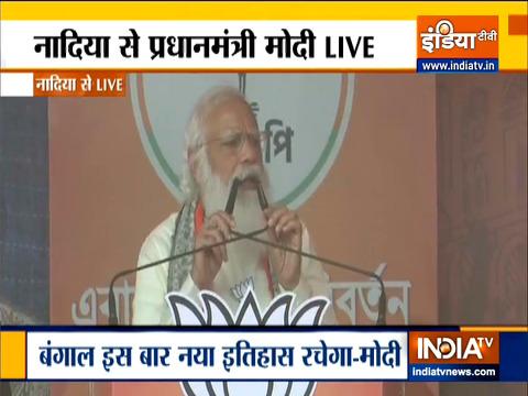 PM Modi targets Mamata Banerjee in Nadia rally, says Didi has become arrogant