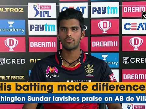 His batting made difference: Washington Sundar lavishes praise on AB de Villiers