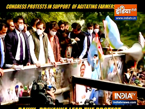 Congress protests in support of agitating farmers