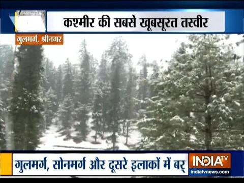 कश्मीर के गुलमर्ग में हुई जमकर बर्फबारी