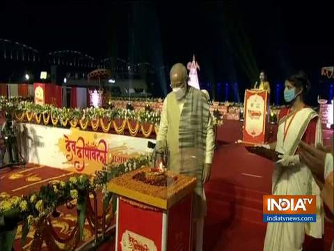 Varanasi: PM Modi lights first diya on Dev Deepawali