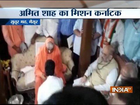 Karnataka Election: BJP President Amit Shah visits Suttur Mutt