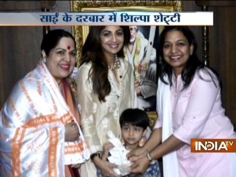 Shilpa Shetty Kundra visits Shirdi Sai Temple with mother Sunanda Shetty and son Viaan