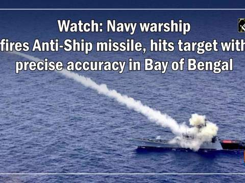 Watch: Navy warship fires Anti-Ship missile, hits target with precise accuracy in Bay of Bengal