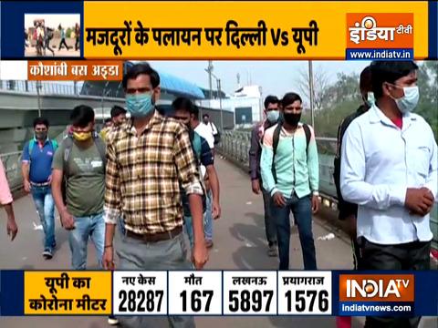 Delhi lockdown triggers panic among migrant workers, huge rush at Kaushambi bus depot