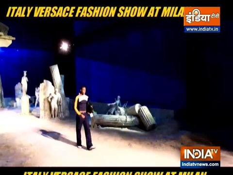 Models walk the ramp at Italy Versace fashion show