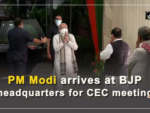 PM Modi arrives at BJP headquarters for CEC meeting