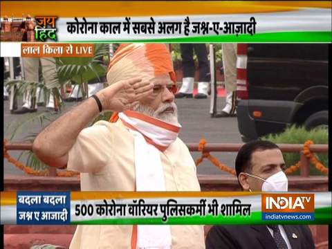 PM Modi inspects the Guard of Honour at the Red Fort on Independence Day