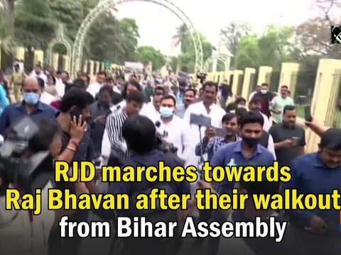 RJD marches towards Raj Bhavan after their walkout from Bihar Assembly