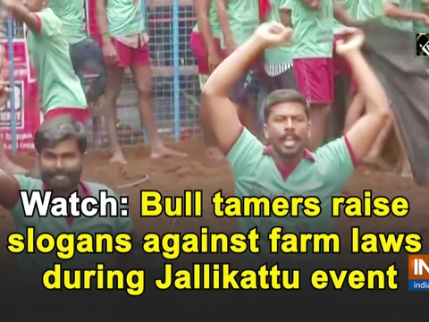 Watch: Bull tamers raise slogans against farm laws during Jallikattu event