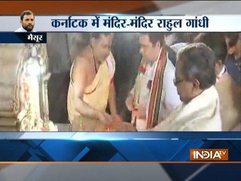 Karnataka: Congress president Rahul Gandhi visited Chamundeshwari Temple in Mysuru