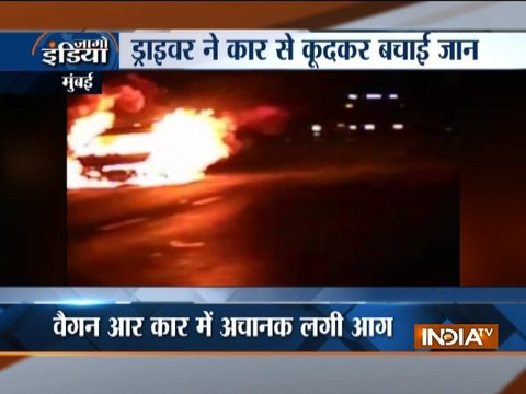 Driver manages to escape as speeding car catches fire in Mumbai