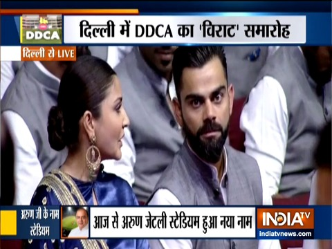 Virat Kohli, Anushka Sharma attend DDCA's event honouring Arun Jaitley