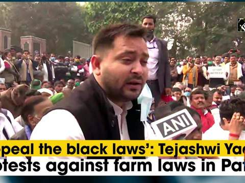 'Repeal the black laws': Tejashwi Yadav protests against farm laws in Patna