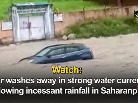 Watch: Car washes away in strong water current following incessant rainfall in Saharanpur