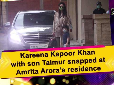 Kareena Kapoor Khan with son Taimur snapped at Amrita Arora's residence