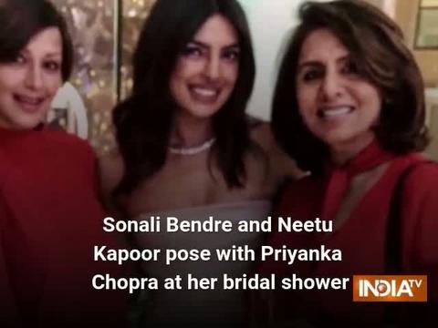 Sonali Bendre and Neetu Kapoor pose with Priyanka Chopra at her bridal shower