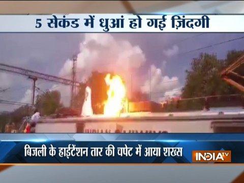 Aurangabad: Man dies instantly after touching high-voltage wire on train