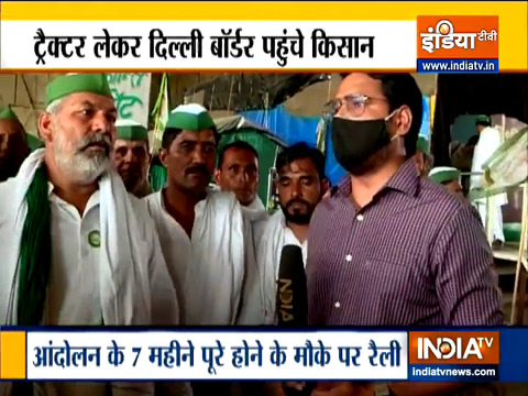 Farmers gather in Delhi with tractors to mark seven months of agitation on June 26