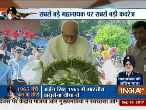 Manmohan Singh, LK Advani,Nirmala Sitharaman at last rites ceremony of Arjan Singh