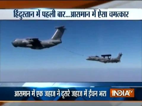 Indigenous air borne early warning and control system conducted its first air to air refueling successfully today