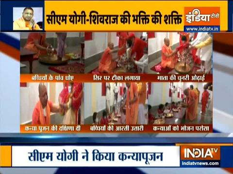 UP CM Yogi Adityanath performs 'Kanya pujan' at Gorakhnath temple
