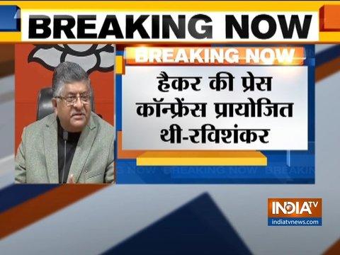ईवीएम हैकिंग को लेकर केंद्रीय मंत्री रविशंकर प्रसाद ने कांग्रेस पर निशाना साधा