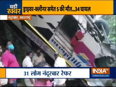 Maharashtra: 5 dead, over 34 injured after bus fell into a gorge in Nandurbar