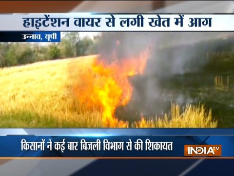 UP: Short circuit in high tension wire turns crop field into ashes in Unnao