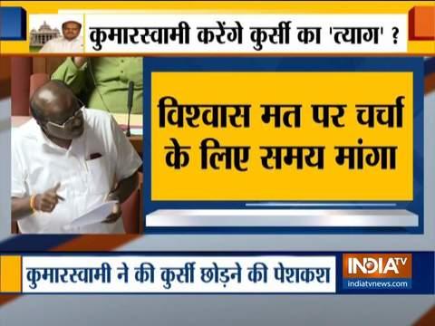 कर्णाटक में कुमारस्वामी ने स्पीकर से मुलाकात कर 2 दिन का समय माँगा
