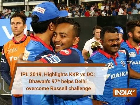 IPL 2019, Highlights KKR vs DC: Dhawan, Pant keep cool as Delhi overcome Russell challenge