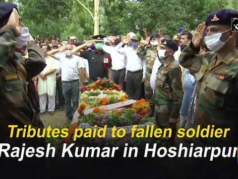 Tributes paid to fallen soldier Rajesh Kumar in Hoshiarpur
