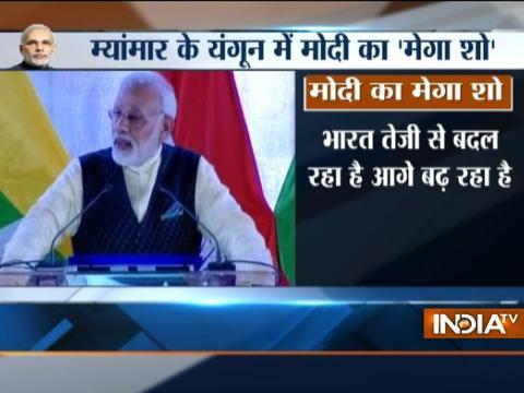 PM Modi addresses Indian community in Myanmar