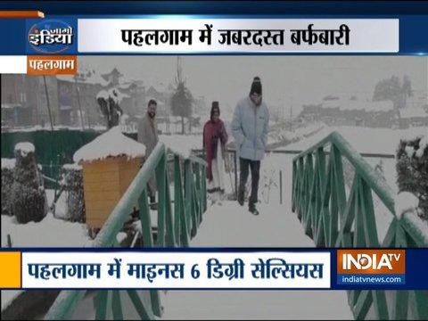 जम्मू-कश्मीर के पहलगाम में हुई ताज़ा बर्फबारी