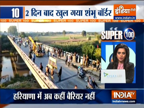 Super 100: Police removes barricades at Shambhu border, farmers allowed to enter Delhi