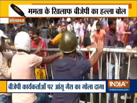 कोलकाता में बिजली शुल्क में बढ़ोतरी का विरोध कर रहे भाजपा कार्यकर्ताओं पर हुई पानी की बौछार