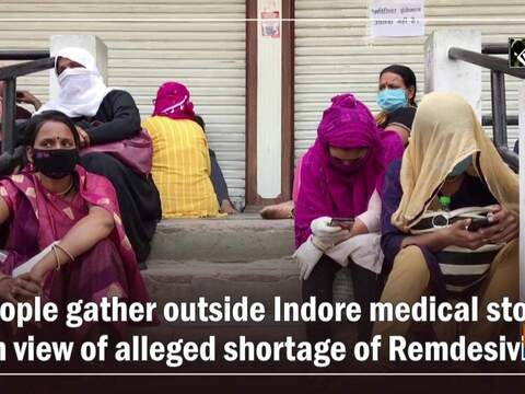 People gather outside Indore medical store in view of alleged shortage of Remdesivir