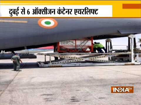 IAF airlifts nine cryogenic oxygen containers from Dubai, Singapore