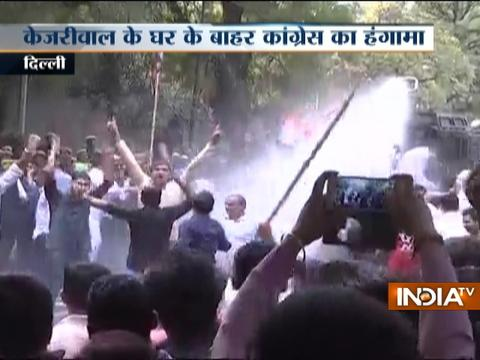 Delhi: Police use cannon on Youth Congress workers protesting outside CM Kejriwal's house