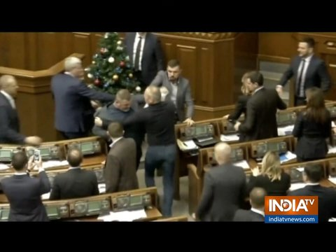 Brawl breaks out during Parliament session in Ukraine