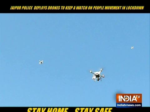 कोरोना वायरस लॉकडाउन के दौरान शहर की स्थिति पर नजर रखने के लिए जयपुर पुलिस ने ड्रोन तैनात किए